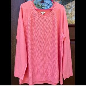 Lightweight Cotton 1X Plus Size Pink Sweater